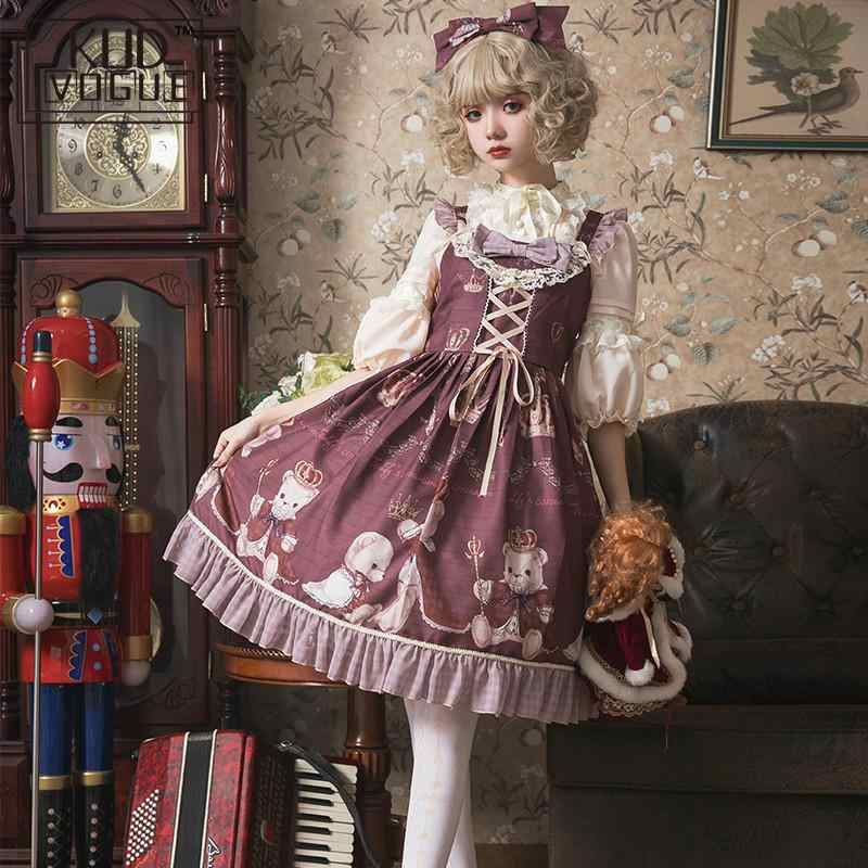 Gothic Dress Retro Cute Printing Bowknot Victorian Dress Shirt Kawaii Girl Sweet Lolita Dress Princess Loli Cos Gothic Lolita JK