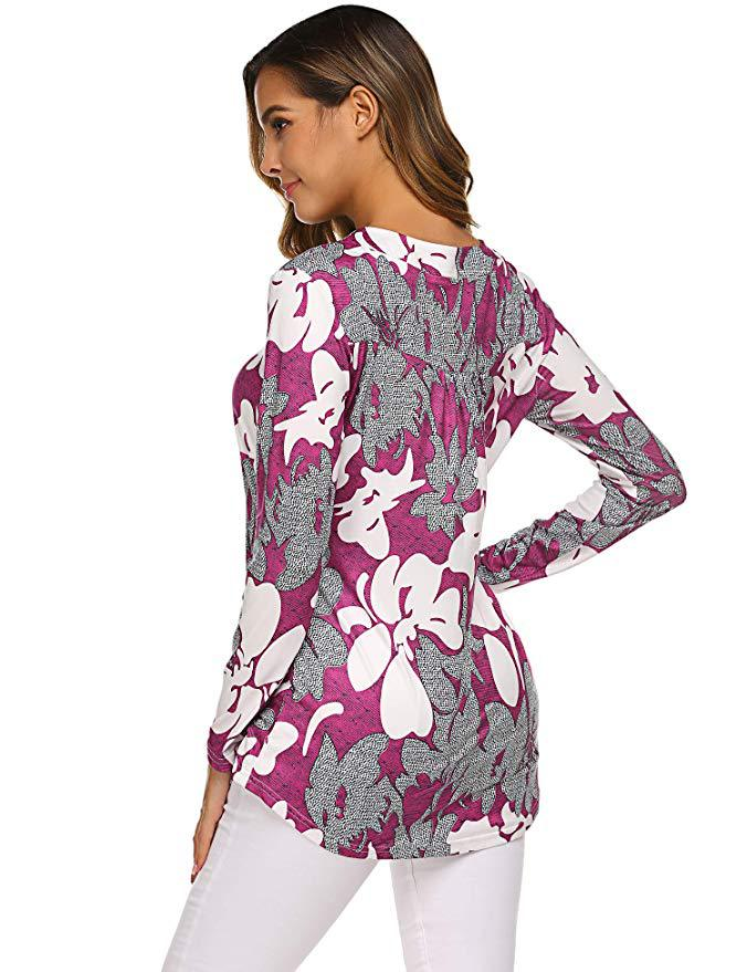 Hf1f009237a1240cba0ee66ac062bf513V - Large size Blouse Women Floral Print Long Shirts elegant Long Sleeve Button Autumn Tunic Tops Plus Size Female Clothing
