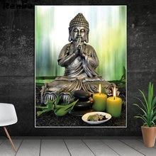 Алмазная живопись Будда камень цветок свеча полная квадратная/круглая