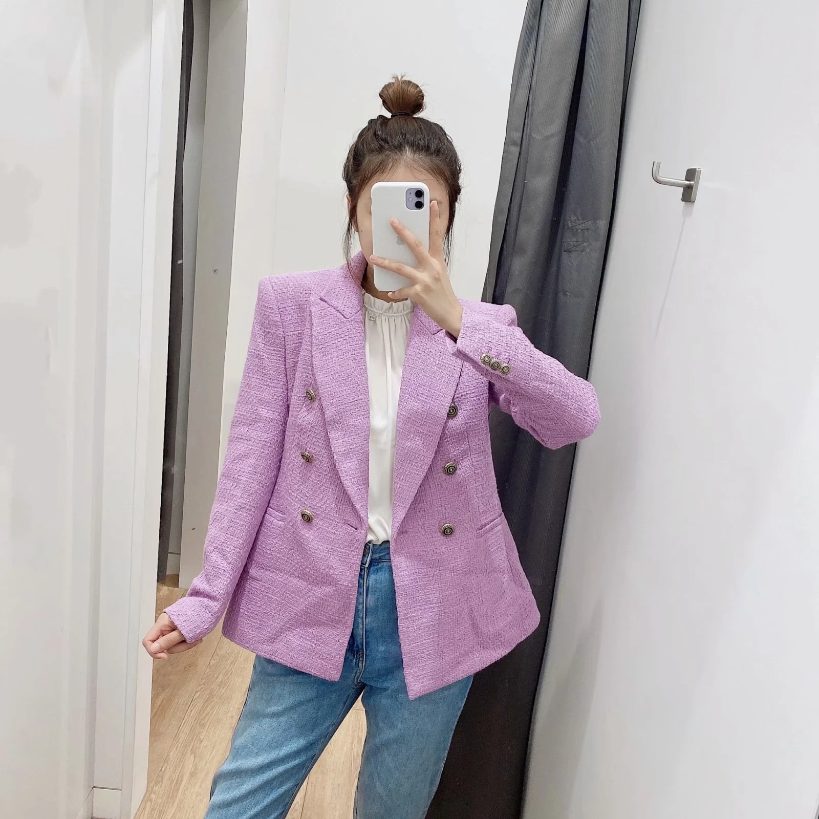 Autumn and winter women's high-quality women's casual ladies blazer 2020 new double breasted slim ladies jacket small suit