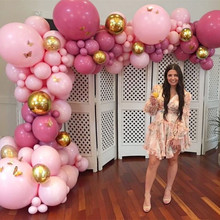 186pcs Balloon Garland Arch Kit Retro Dusty Pink Gold 4D Baby Balloons Party Decorations for Birthday Shower Wedding