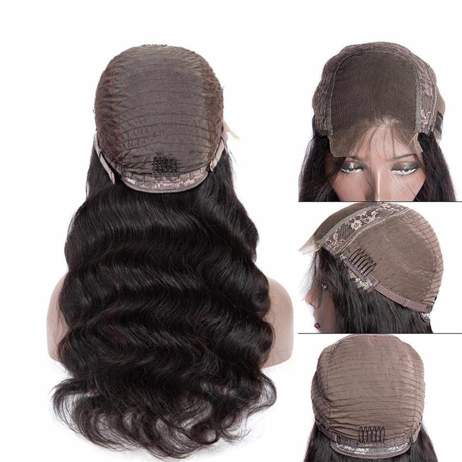 Pelucas de cabello humano Frontal de encaje para mujeres negras peluca Frontal de encaje peluca con malla Frontal 150 densidad no remy 13x4 peluca brasileña de onda del cuerpo