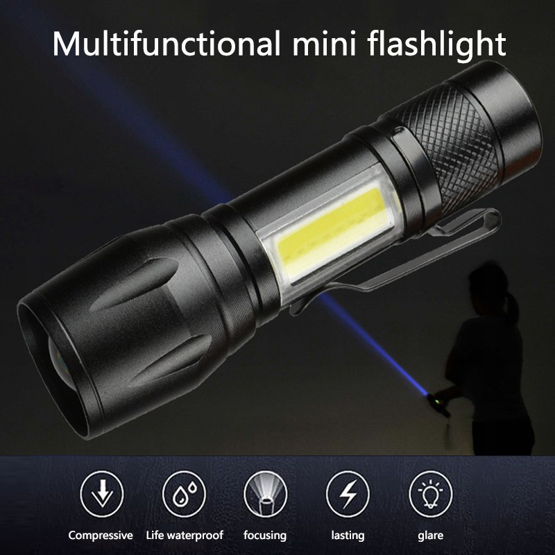 COB + XPE Super Bright Waterproof Hand-held Flashlight Pocket Flashlight Work Light Emergency Lighting LED Pocket Flashlight