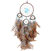 New Coffee Rings Large Turquoise Beads Dream Catcher Home Crafts Type Car Mounted Pendant(China)