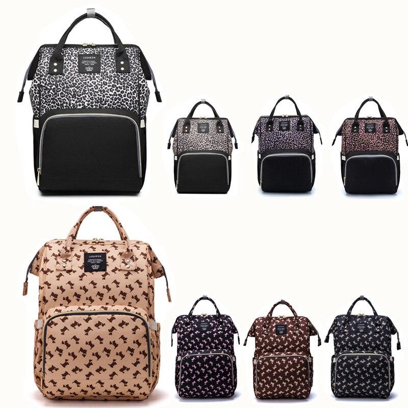 Lequeen Diaper Bag Leopard Nappy Bag Travel Maternity Patchwork Bag Baby Care Outdoor Stroller Organizer Bag Nursing Backpack