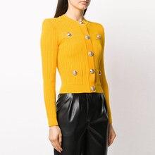 HIGH STREET Newest 2021 Designer Style Women's Lion Buttons Knitting Cardigan Sweater