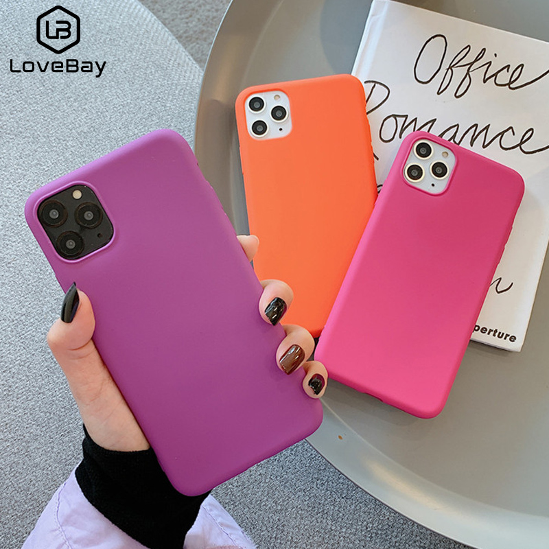 Lovebay Superior Phone Case For iPhone 11 Pro X XR XS Max 7 8 6 6s Plus Candy Solid Color Frosted Matte Case Soft TPU Back Cover(China)