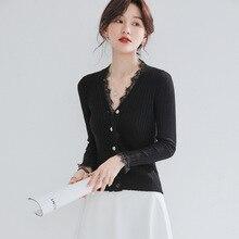 slim คอเสื้อกันหนาวผู้หญิงสวมใส่ภายในผู้หญิงแฟชั่น 2019 V