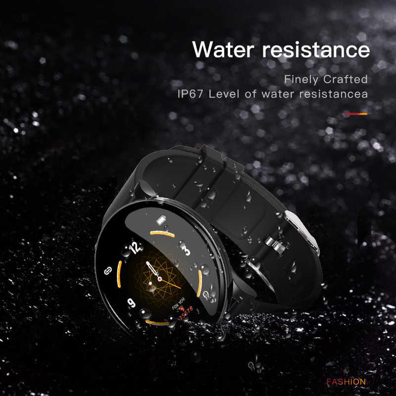 الفاخرة ساعة ذكية الرجال ضغط الدم للماء روز الذهب Smartwatch النساء جهاز تتبع معدل ضربات القلب لأغراض اللياقة البدنية الساعات الرياضة الروبوت IOS