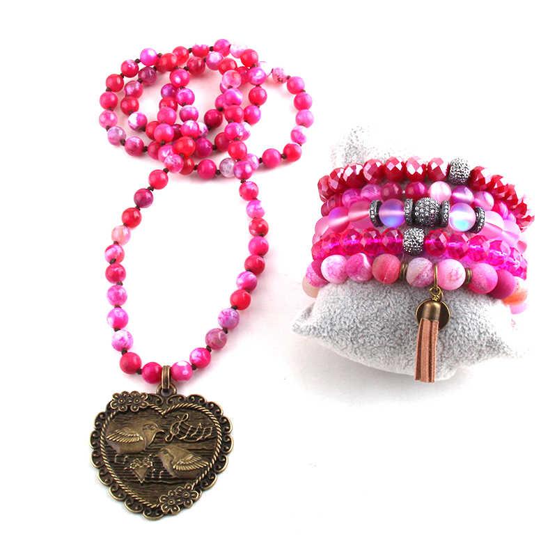 לחות יחסית תכשיטים סט חצי יקר חרוזים אבן תליון שרשרת וצמיד סטי עבור תכשיטי נשים