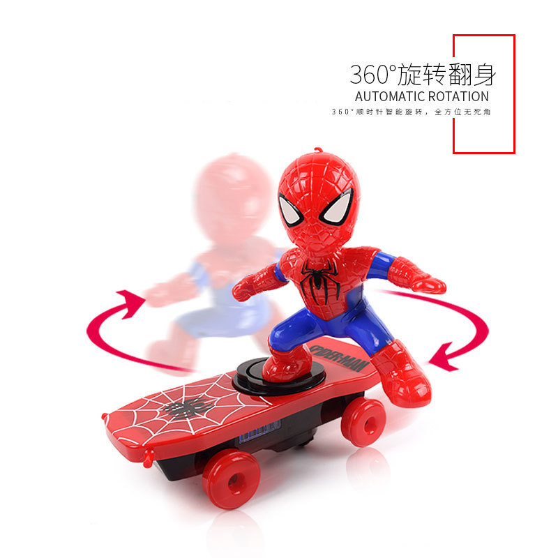 Douyin Celebrity Style Spider-Man Stunt Scooter Electric Universal Rotating Roll Music Lights Children Cartoon Toys