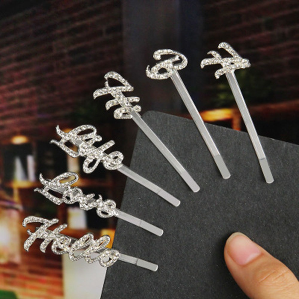 New Silver Crystal Shiny Letters Hair Clips Women Rhinestones Hairpins Hairgrips Diamond Headwear Hair Accessories Styling Tool