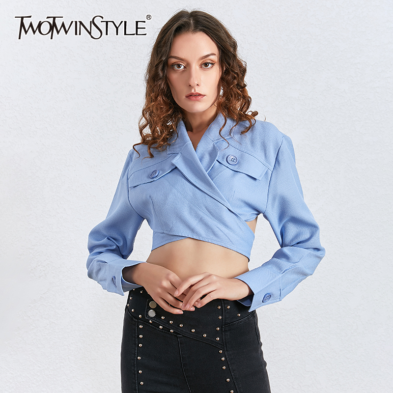 TWOTWINSTYLE Asymmetrical Slim Women's Blouses Lapel Collar Long Sleeve Irregular Short Shirts Female Fashion Clothing 2020 Tide