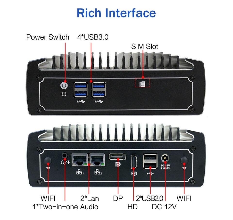 OEM Mini PC I5 8250U 3.4GHz Intel Graphics 620 Mini Desktop Gaming Computer Barebone 2 HD Port 3-Year-Warranty Windows10 CPU FAN