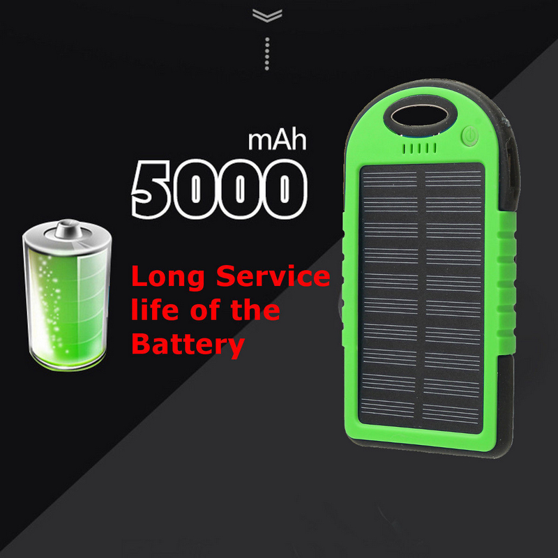 Efficient Solar Panel Portable Dual 2 USB Solar Power Bank Battery Case For Smart Mobile Cell Phone Charger Cover 5000mah