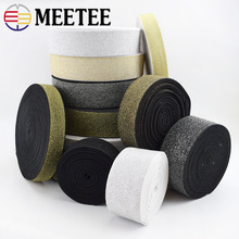 Gold Silver Nylon Elastic Band for Garment Trousers Fashion Belt Webbings Ribbons Soft Tension Rubber