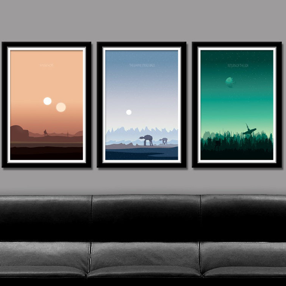 Star Wars Inspired Posters and Prints Sunset Landscape Minimalist Canvas Painting Movie Wall Pictures for Living Room Home Decor image