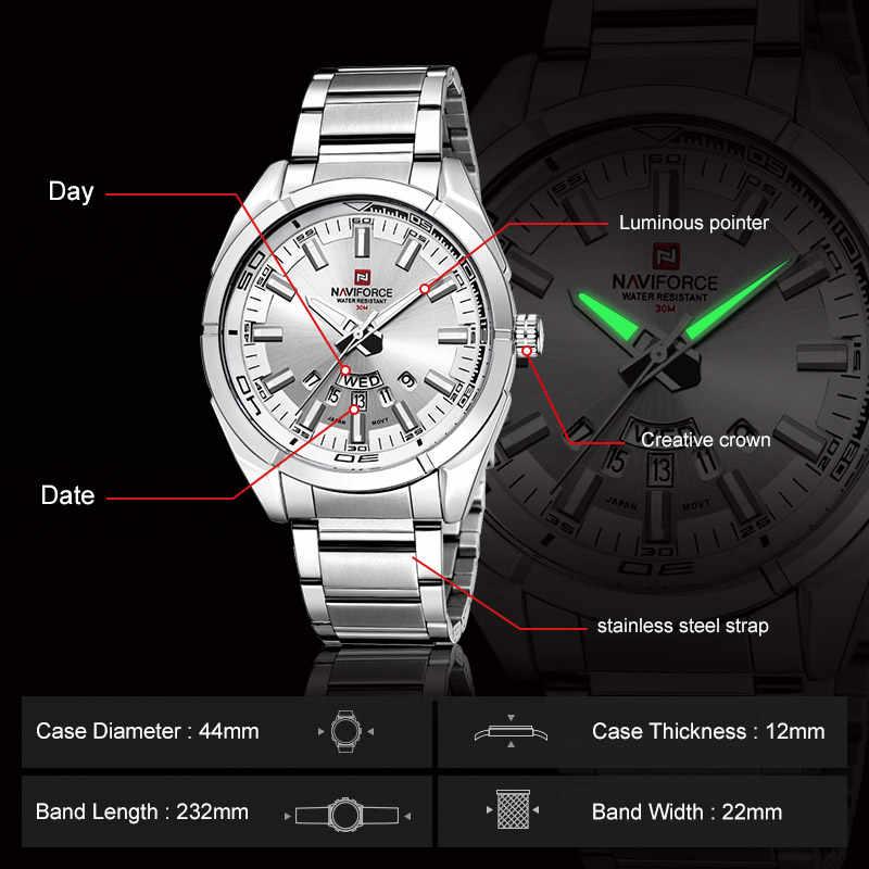 NAVIFORCE montre hommes Top marque hommes montres plein acier étanche décontracté Quartz Date Sport militaire montre-bracelet Relogio Masculino