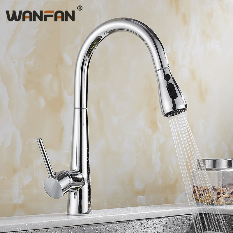 Spray Chrome Stream Handle Kitchen Faucet Tap Rotation Mixer Swivel Pull Out Durable Sink Sprayer Single Hole N22-168