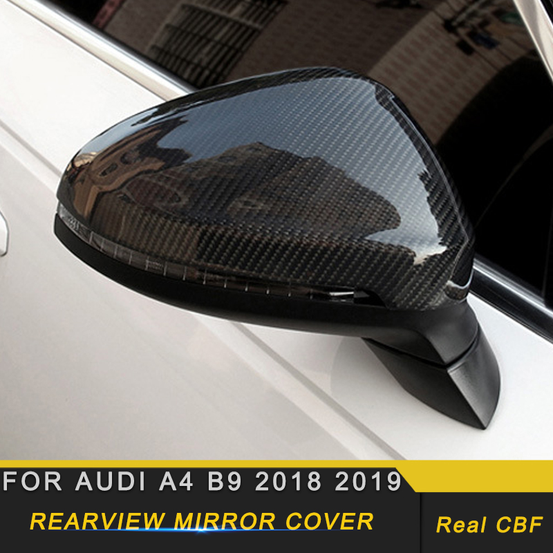 Carbon Fiber Side Mirror Cover For Audi A4 B9 with Lane Assit Replacement 2016+