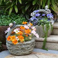 Outdoor Garden Cement Snail Flower Basket Statue Ornaments Courtyard Balcony Kindergarten Flower Pot Figurines Decoration Crafts