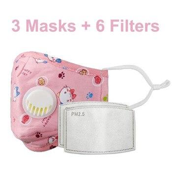 3 PCS Del Fumetto PM2.5 Bambini Maschera Maschera Con 6 Filtri Respiro Bocca Valvola Viso Maschera Per Bambini Lavabile Maschera Maschera di Polvere a prova di sterile In Magazzino 26