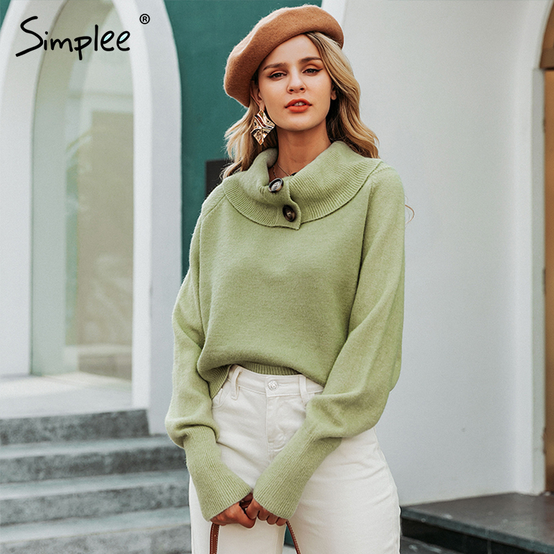 Simplee Button Turtleneck Women Pullover Sweater Autumn Winter Female Knitted Sweater Casual Long Sleeve Ladies Jumper Sweater