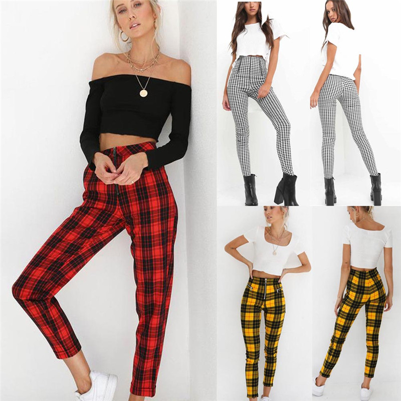 2019 Hot Sale Fashion Women's Pants High Waist Elastic Zipper Striped Plaid Casual Trousers