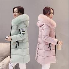 Parka para mujer abrigos de invierno largos de algodón Casual de piel con capucha chaquetas gruesas de invierno cálido Parkas abrigo femenino 2019 nuevo