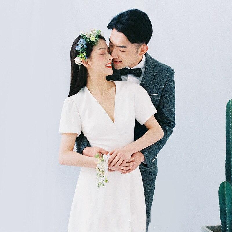 2019 Vestidos De Boda Simple Satin Sexy Wedding Dress Short Sleeve Wedding Gown A line Bridal Dress Robe De Mariage