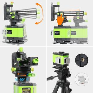 Image 5 - Huepar 3D Self leveling Laser Level 3x360 Green Beam Cross Line 360° Vertical Horizontal Line Remote Control & Hard Carry Case