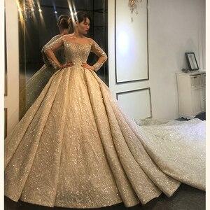 Image 1 - 2020 두바이 럭셔리 웨딩 드레스 긴 소매와 무거운 구슬 신부 드레스 100% 진짜 작업 고품질