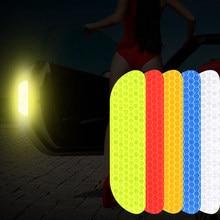 4 Pçs/set Universal Porta Adesivos Refletivos Adesivos de Carro Carro Roda Sobrancelha Adesivo Decalque Fita de Advertência de Segurança Marca Tiras Reflexivas