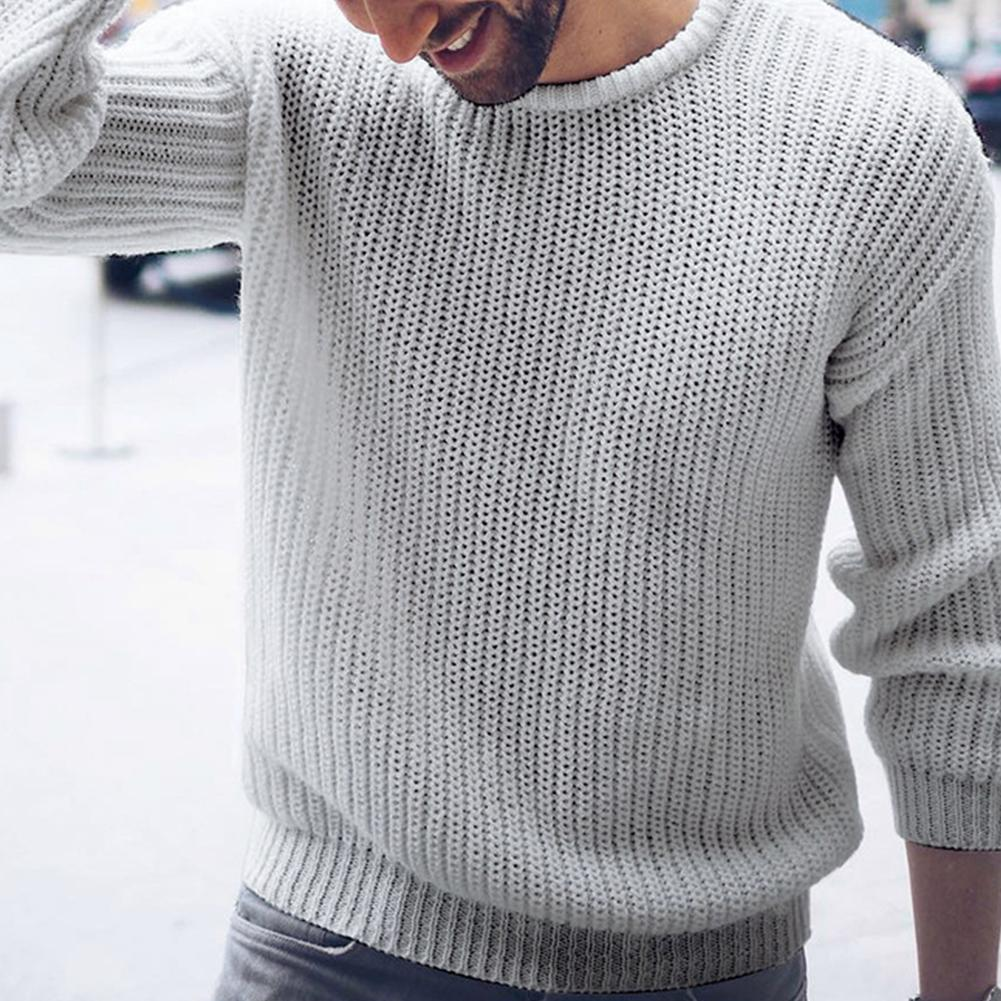 Chic Autumn Winter Sweaters Men Solid Color O Neck Long Sleeve 2019 Pullover Knitted Pull Sweater Mens Sweaters Male Knitwear
