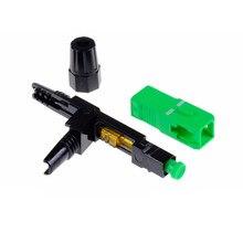 100 adet gömülü SC APC Fiber optik hızlı bağlantı FTTH tek modlu fiber optik SC hızlı bağlantı yeşil adaptör alan montajı