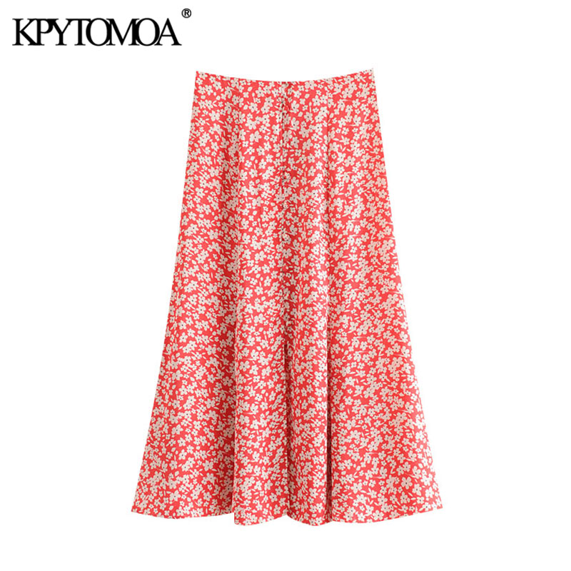 KPYTOMOA Women 2020 Chic Fashion Floral Print Midi Skirt Vintage High Waist Covered Buttons Female Skirts Casual Faldas Mujer