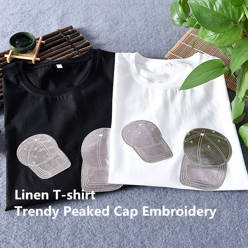 New design brand men linen t-shirt trend peaked cap embroidery t shirt for men summer fashion t shirts male o-neck tshirt mens
