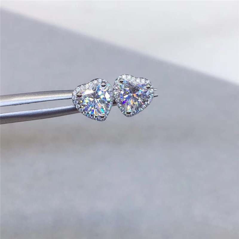 Stud Earrings For Women S925 Silver Heart Cubic Zirconia Wedding Engagement Promise Bridal Elegant Jewelry Drop Shipping CCE663