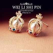 Kristal Indah Mahkota Anting-Anting Korea Fashion Crystal Anting-Anting Mutiara Cross Stud Anting-Anting Eropa dan Amerika Perhiasan