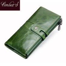 Vert rouge pochette mode en cuir véritable femmes portefeuille femme longs portefeuilles avec porte carte fermeture éclair porte monnaie pour iPhone 8