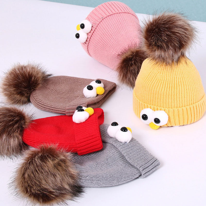 Skull Caps Cartoon Flamingo Winter Warm Knit Hats Stretchy Cuff Beanie Hat Black