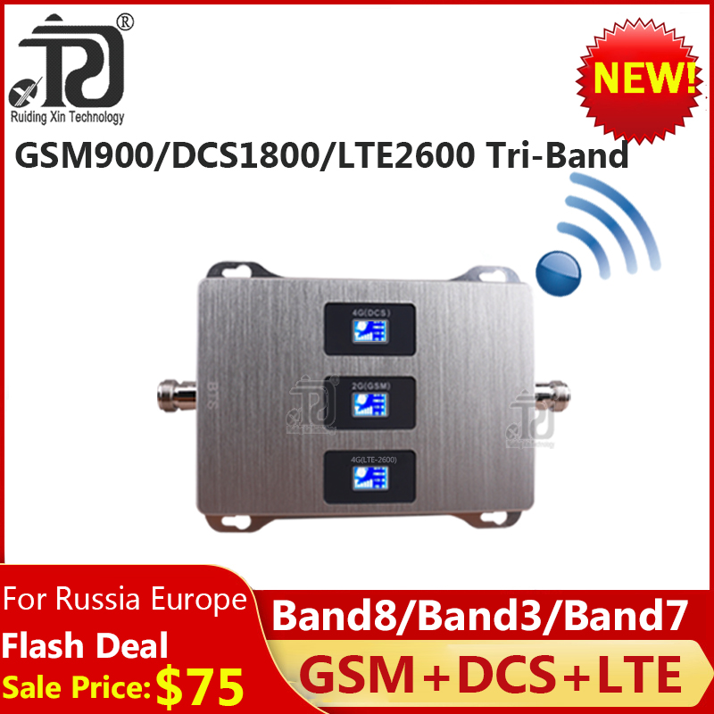 Tri-Band 900/1800/2600 Cellular Amplifier 4G GSM DCS LTE Mobile signal Booster 900/1800/2600 lte 4G Cell Phone Signal Repeater