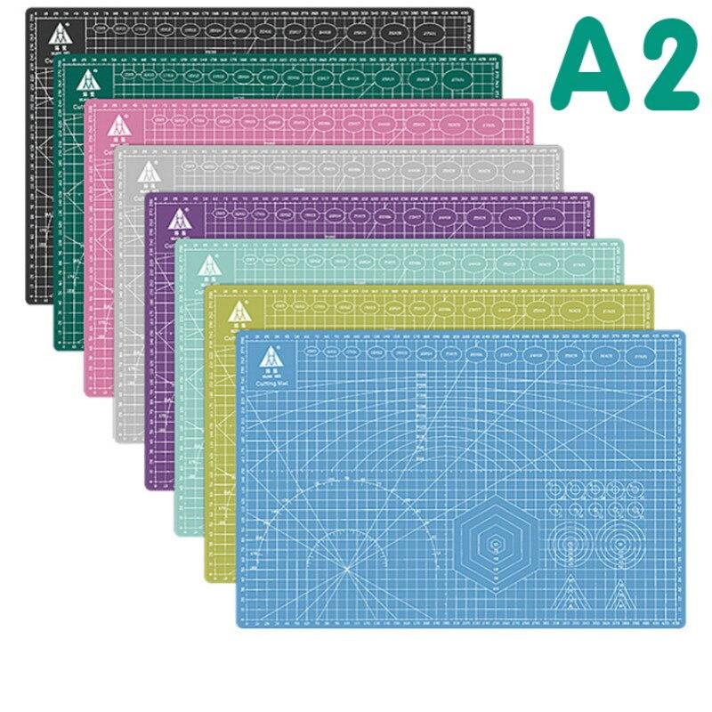 1 Piece 60 * 45cm A2 Cutting Board Grid Line Self-healing Cutting Board Craft Card Multi-color Double-sided Desktop Cutting Pad