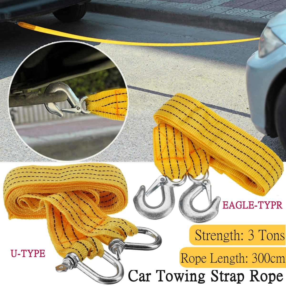 3 Meters Heavy Duty 3Tons Car Tow Cable Towing Pull Rope Strap Hooks Van Road Recovery Eagle Hook / U-hook Towing Ropes