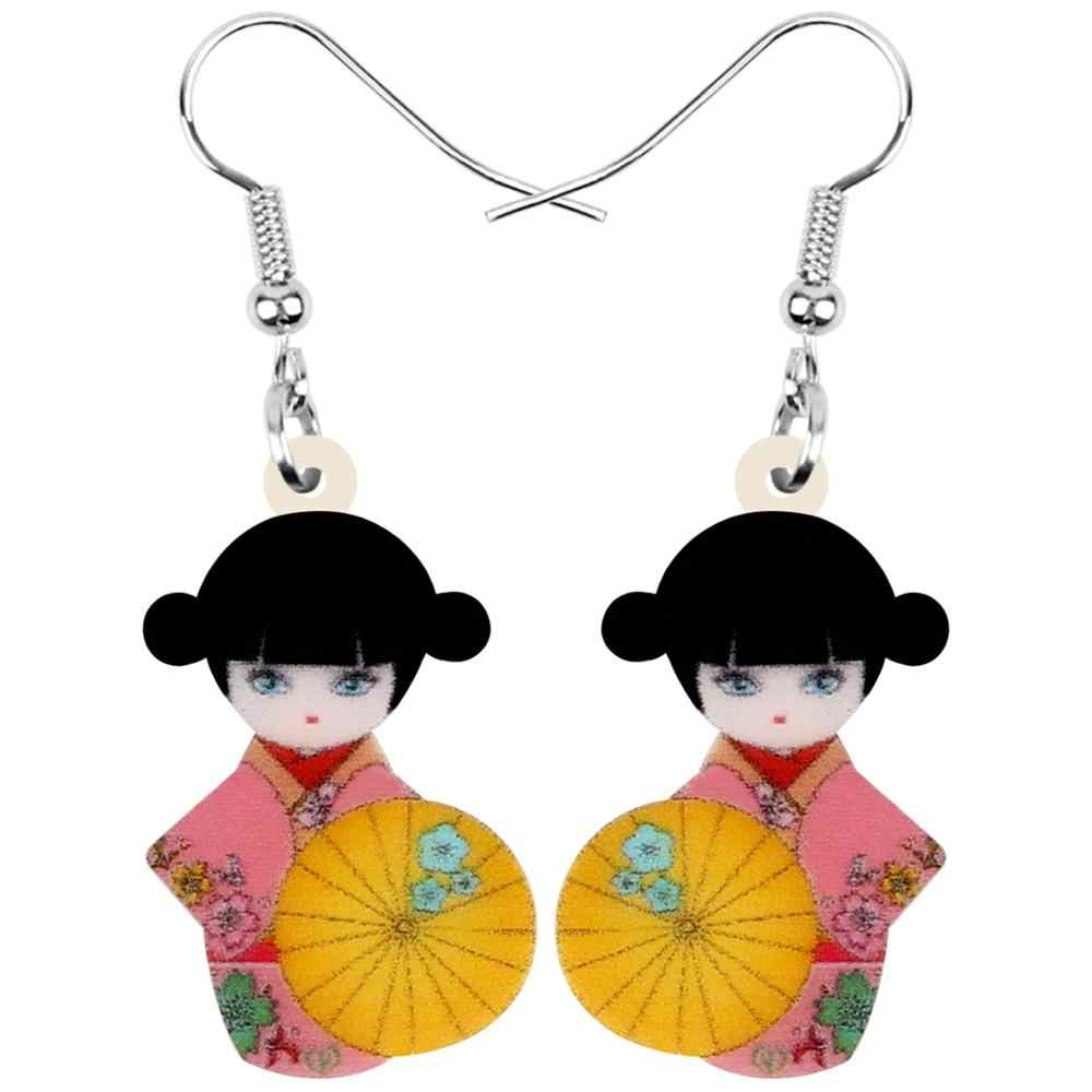 Newei 아크릴 일본 기모노 소녀 인형 파라솔 귀걸이 드롭 여성을위한 매달려 장식 쥬얼리 소녀 십대 매력 뜨거운 판매 선물