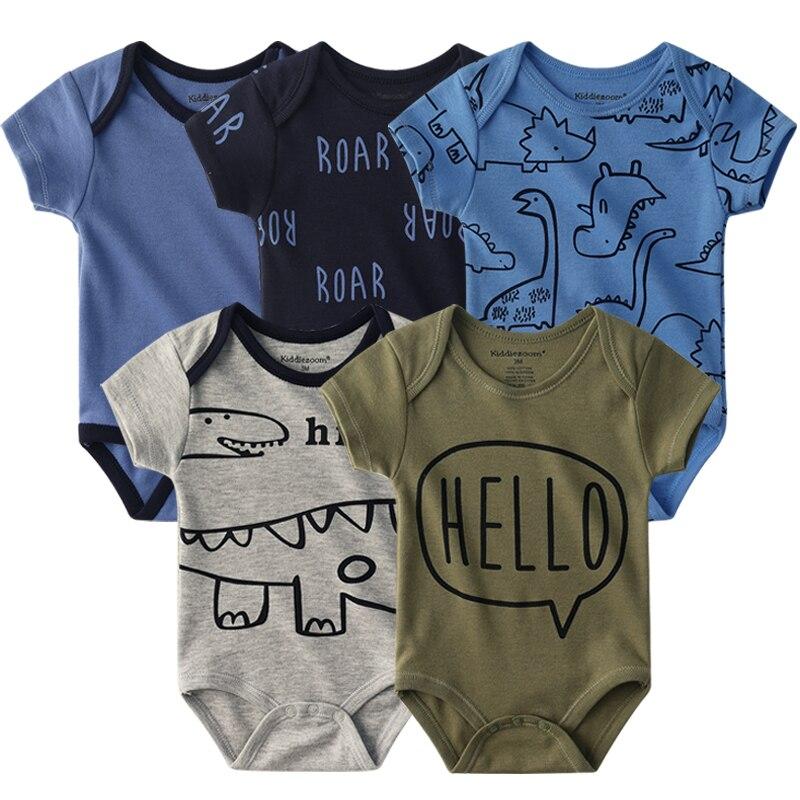 2021 Unisex 5PCS Baby Girl Clothes Cotton Bodysuits Newborn Baby Boy Clothes Cartoon Print Girls Baby Clothing Ropa Bebe 4