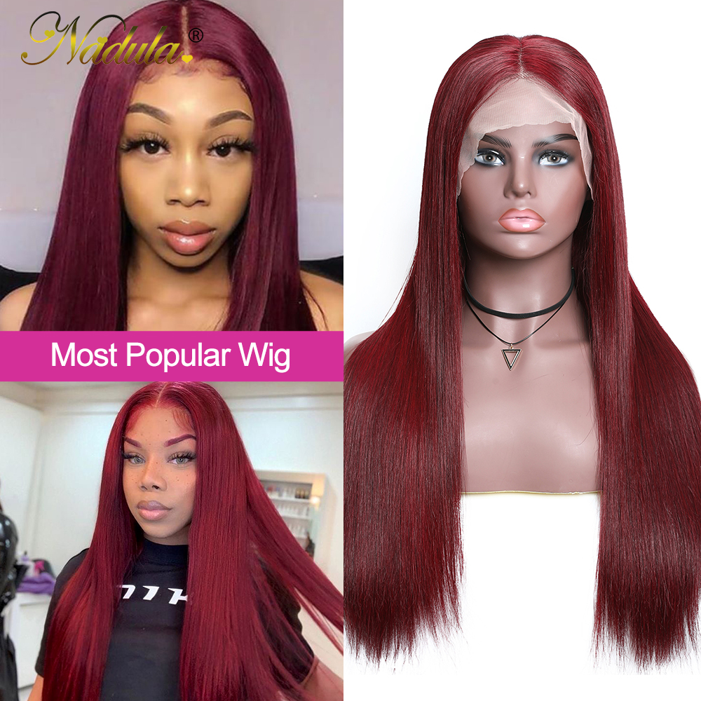 Nadula Hair #99J Burgundy Lace Front Wigs 13X4 Straight Lace Front  Wigs Pre-Plucked Red Burgundy Lace Front Wigs 4