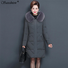 Winter Coat For Women 2019 Plus Size 5XL Middle-aged Mother Fashion Hooded Fur Collar Long Down Cotton Padded Jackets Overcoat стоимость