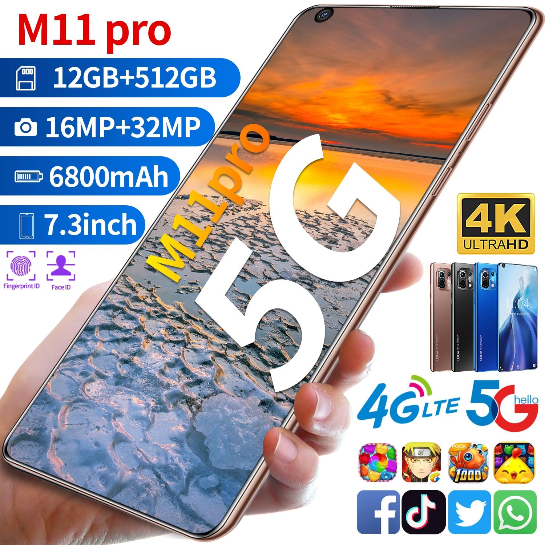 Глобальная Версия Телефона M11 Pro Snapdragon888 определено смартфон 7,3 дюймов HD Экран 4G 5G Android10 Распознавание лиц 32MP