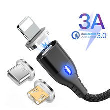 Magnetic Micro USB Type C Cable Lighting For iPhone ipad 3A Fast Charge Wire For Samsung S9 Oneplus 6t Mobile Phone Charger Cord magnetic cable micro usb charger type c charging wire for iphone x xr 8 7 6 oneplus 6t samsung s9 s8 microusb cord mobile phone